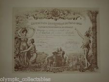 PARIS 1900 OLYMPIC GAMES / EXPOSITION UNIVERSELLE GOLD MEDAL DIPLOMA