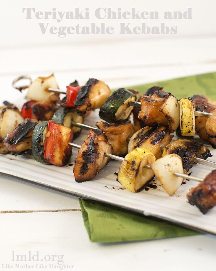Teriyaki Chicken and Vegetable Kebabs - Like Mother Like Daughter
