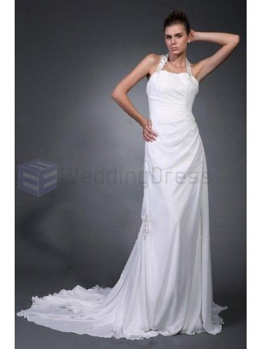 Trumpet Mermaid Halter Satin Chiffon Court Train Wedding Dress with Ruffles