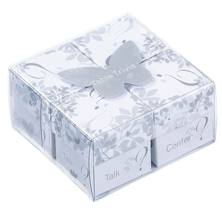A beautiful set of 4 tables trivia boxes in white and silver Perfect for the wedding table There are 60 romantic questions in each box An ideal ice