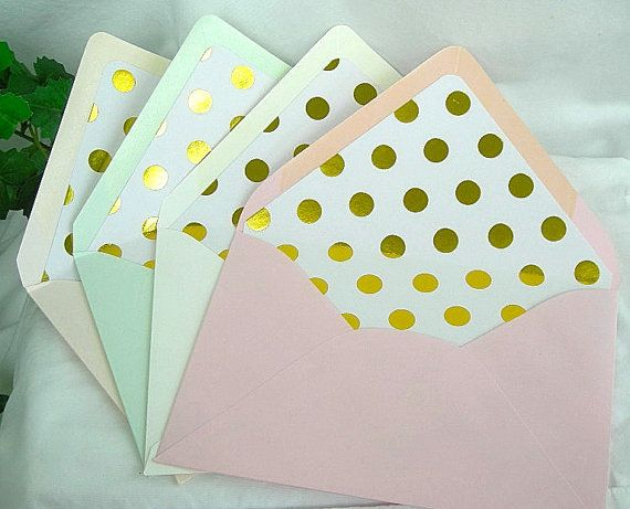 Hey, I found this really awesome Etsy listing at https://www.etsy.com/listing/219356028/gold-foil-polka-dot-lined-envelope-liner