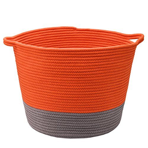 Loongbaby Large Cotton Rope Handle Storage Basket Laundry Basket Storage For Kids Toys Or Potted Plants Stuffed Animal Storage Dog Room Decor Storage Baskets