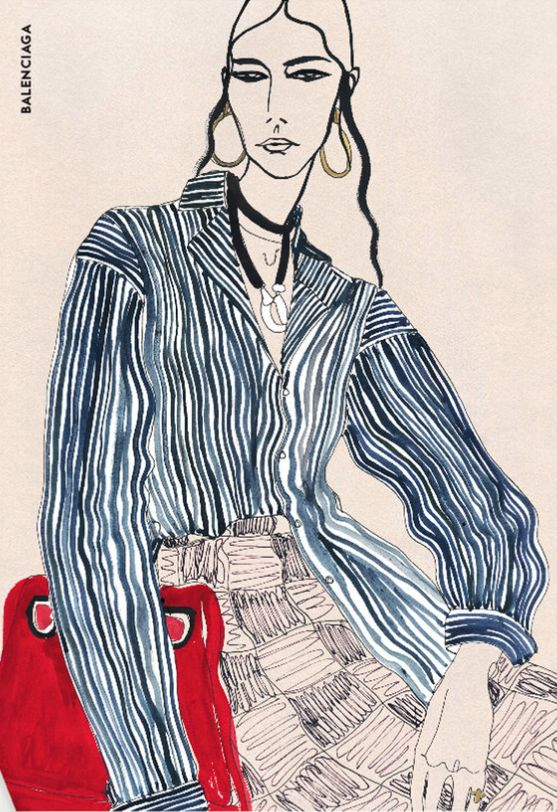 Rosie McGuinness (London-based), ca. 2016, Balenciaga Fashion Illustration.