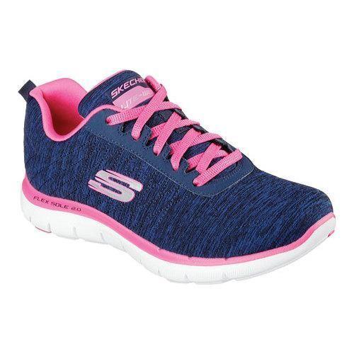Women's Skechers Flex Appeal 2.0 Training Sneaker Navy/Pink by Skechers