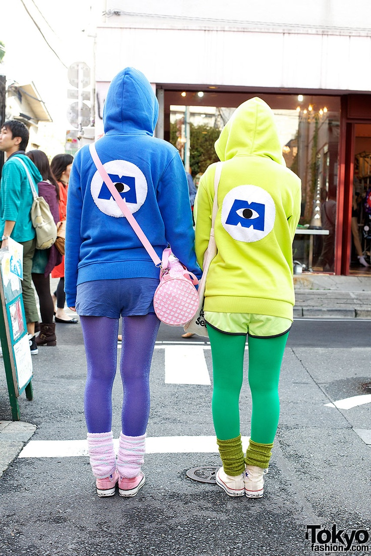 Present - Here are two fun Harajuku girls in the spirit of Halloween wearing Sulley & Mike-inspired outfits. The hoodies are customized with Monsters, Inc logos on the back. Check all of the girls pics & info here: http://tokyofashion.com/harajuku-girls-sulley-mike-monsters-inc/ (Tokyo Fashion. 2012)