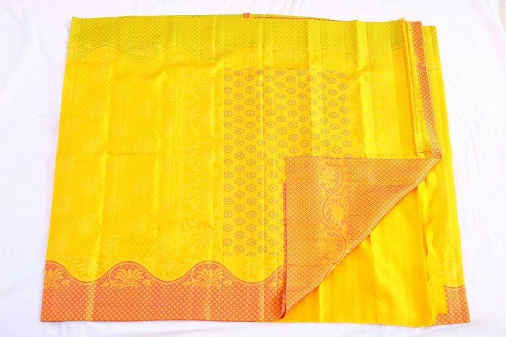 Yellow Kanchipuram wedding saree with contrast border from silk saree makers. You can buy at http://kanjivaramsilks.com/wedding-sarees-online/silk-08ssfeb2o4a9806.html Tags: #weddingsarees #silksarees