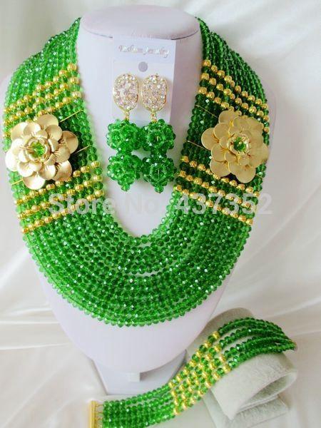 Лучшие Продажи Зеленый кристалл ожерелья костюма ювелирные нигерийский свадьбы африканские бусы комплект ювелирных изделий ABC425