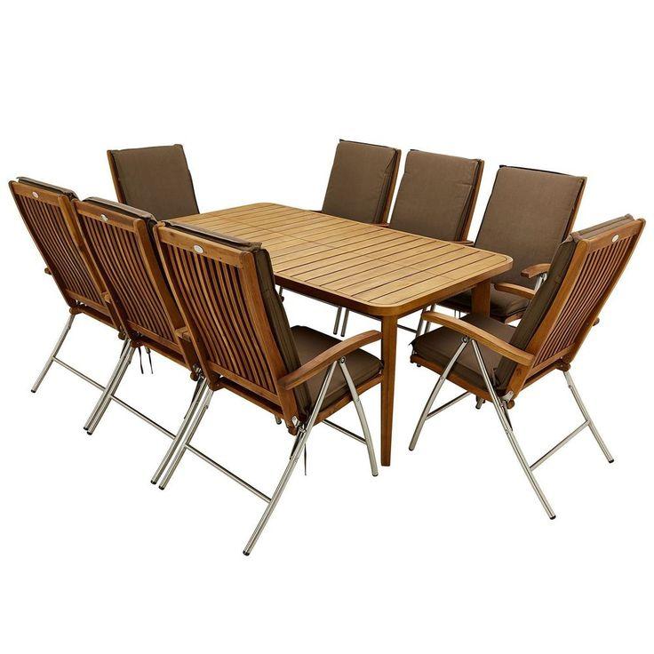 8 Seater Outdoor Dining Set Brown Recliner Chairs Acasia Wooden Garden Furniture