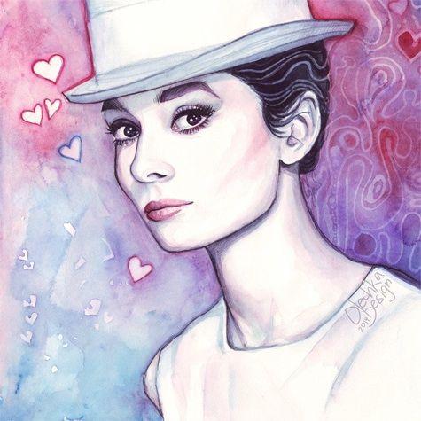 audrey+wood+illustration   Audrey Hepburn in Purple Watercolor. Fashion, watercolor, illustration ...