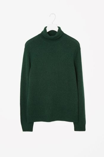 COS image 2 of Cashmere roll-neck jumper in Bottle Green