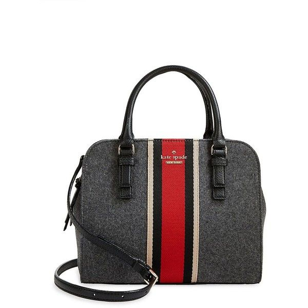 Kate Spade New York Lotie Small Satchel ($358) ❤ liked on Polyvore featuring bags, handbags, charcoal, kate spade, stripe purse, striped purse, kate spade purses and handbag satchel