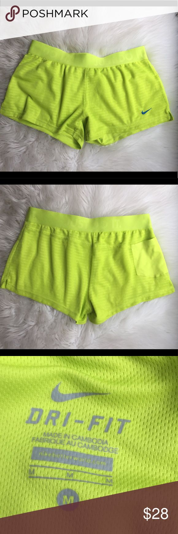 Neon green Nike athletic shorts ✨ These are in brand new condition, worn once! They have a great fit and are the perfect workout short! They are short shorts. ✨ Nike Shorts