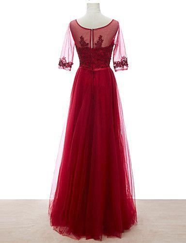Vestido de Dama de Honor - Rojo Corte Recto Escote A la Base - Hasta el Suelo Satén / Tul 2016 – $79.99