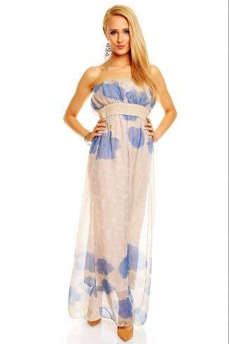 Στράπλες φλοράλ μάξι φόρεμα - Ανοιχτό Γκρι Μπλε