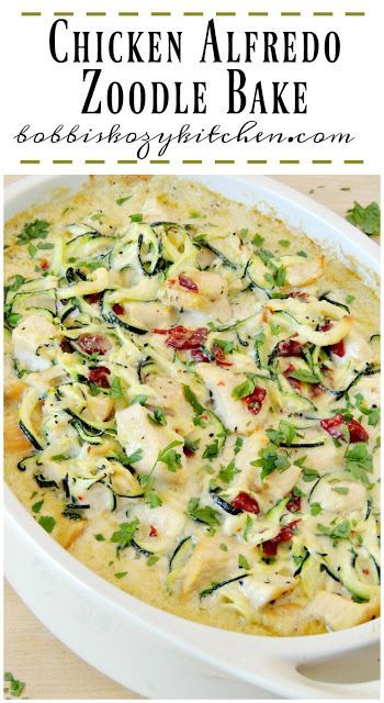 Chicken Alfredo Zoodle Bake uses Foster Farms Simply Raised Chicken in a quick, easy, and healthy version of your favorite comfort food AD NewComfortFood from www.bobbiskozykitchen.com