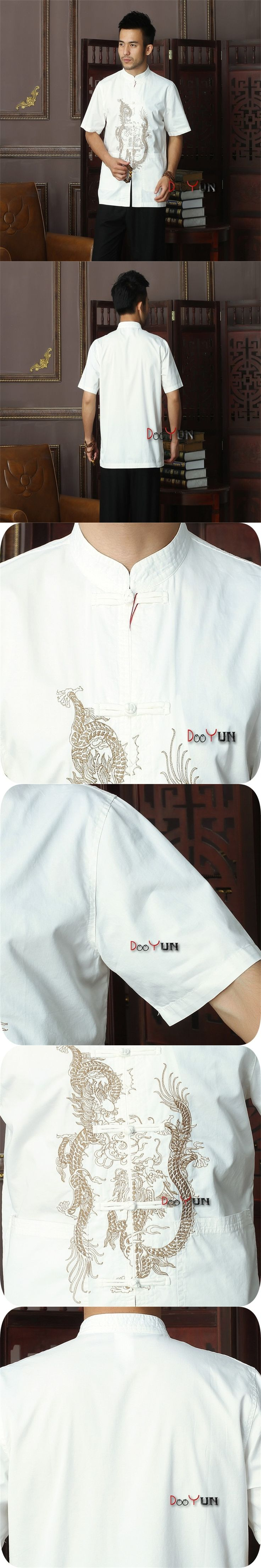 White Chinese Men's Cotton Kung Fu Shirt Top Novelty Embroidery Tang Suit Mandarin Collar Clothing Size S M L XL XXL XXXL