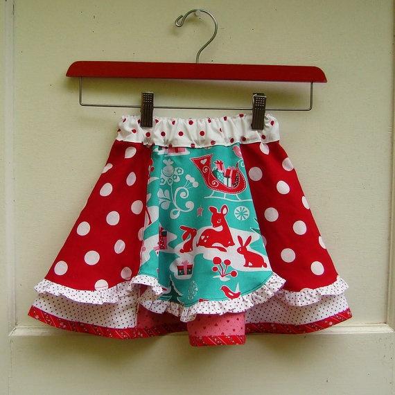 Girls Christmas Skirt Retro Twirly 18M by reimaginedtreasures, $45.00
