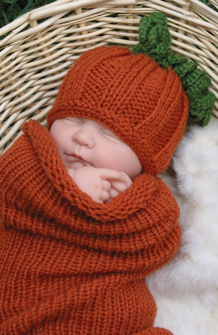 Pumpkin Knit Baby Hat and Cocoon