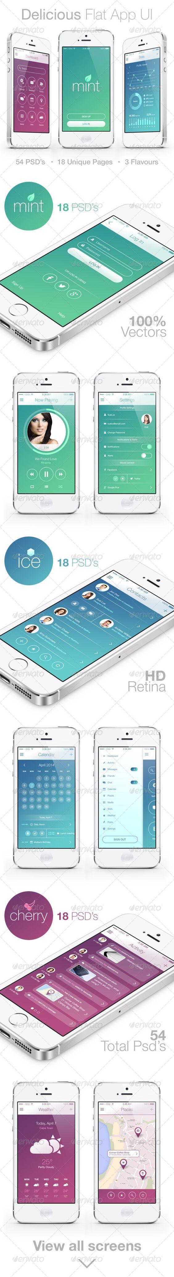 Delicious Flat Mobile App UI app, apple, calendar, chat, contacts, design, flat, iOS7, inbox, ios, iphone, login, map, menu, messenger, mobile, music, profile, psd, retina, settings, stats, ui, user interface, vector, weather, Delicious Flat Mobile App UI: