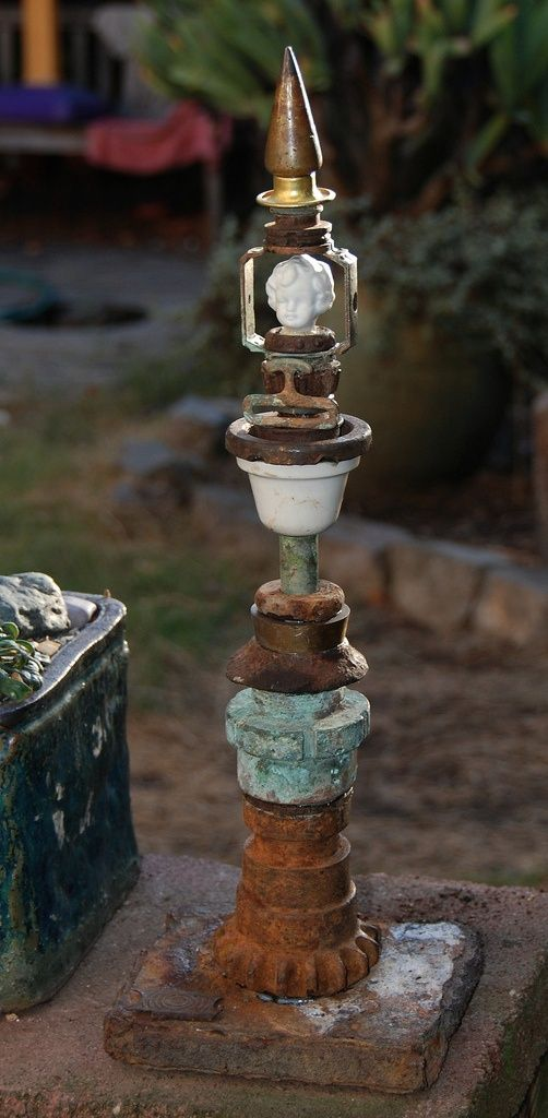 Rusty Junk Sculptures I make as Garden Focalpoints | Collectors Weekly