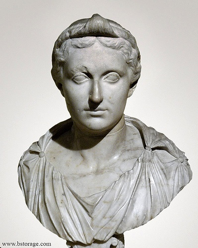 Julia, second wife of Tiberius. She was daughter of the Emperor Augustus, stepsister of her husband Tiberius, maternal grandmother of the emperor Caligula and the empress Agrippina the Younger, grandmother-in-law of the Emperor Claudius, and maternal great-grandmother of the Emperor Nero. Exiled by her own father because of her depraved sexual life.