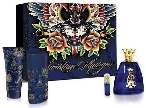 Christian Audigier by Christian Audigier,4 piece gift set for men by Etailer360. $39.28. This gift set includes a 3.4oz Eau De Toilette Spray, and a .25oz Eau De Toilette Spray, and a 3 oz Hair & Body Wash, and a 2.75 oz Deodorant Stick. Christian Audigier for Men features top notes of blackberry, pomelo, Asian pear and rum; heart notes of cinnamon bark, saffron and orriswood; and a base of vetiver, oakmoss and leather.