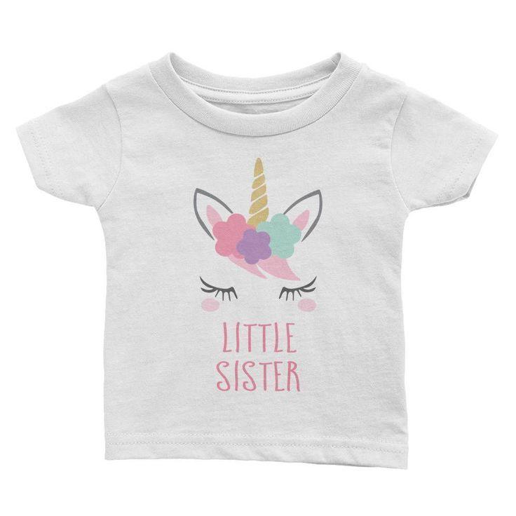 Girls Unicorn Little Sister T-Shirt, Unicorn Baby Shower Gift, Toddler Little Sister Outfit #littlegirloutfits