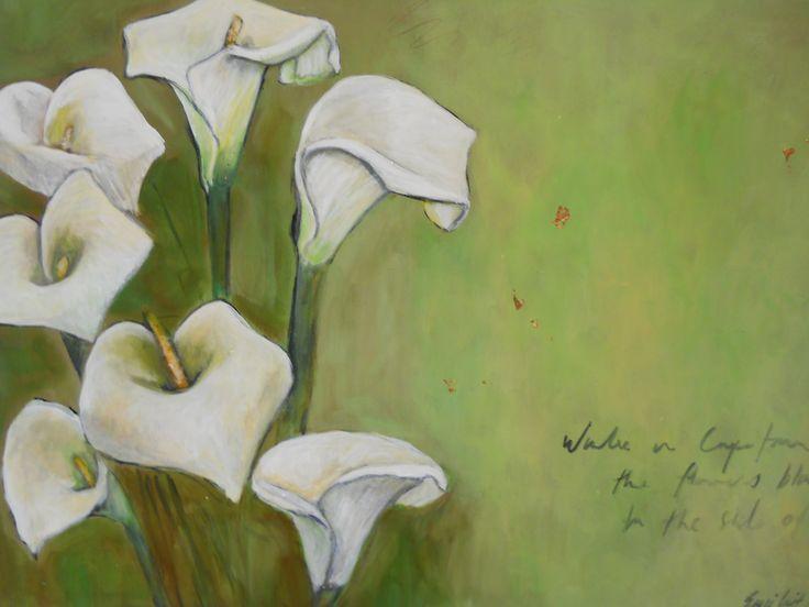 """Arum lillies"" Acrylics on canvas"