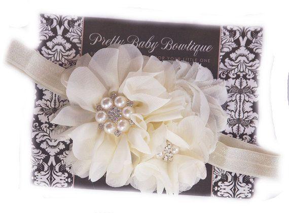 Serre-tête bandeau crème fleur de baptême par PrettyBabyBowtique
