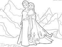 Сёстры Эльза и Анна - скачать и распечатать раскраску. Раскраска Раскраска Холодное сердце - две принцессы, разукрашка для детей из мультфильма студии Дисней