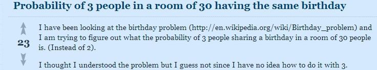 Poisson Distribution applies to Birthday problem of 3 people - explain why P (Eijk) = 1/365 exp 2