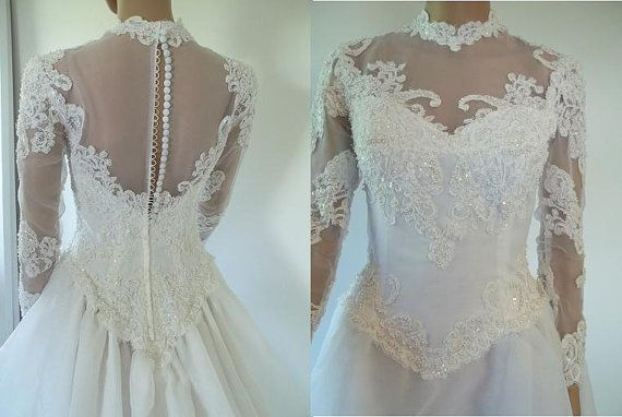 Vintage Wedding Gown Bridal gown chapel train with pearls and sequins at LilaCInspirations