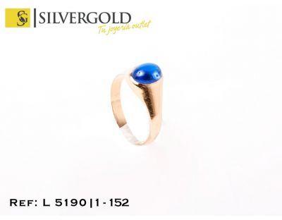 1-1-152-2-Anillo tipo sello con piedra azul en cabujÃn T8 L5190