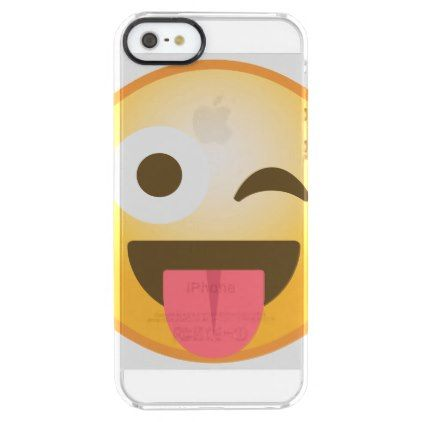 #trendy - #Winking Tongue Emoji Clear iPhone SE/5/5s Case