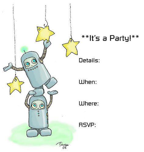 Robot Spaceman Party Invitation Robot Pinterest Robot Free
