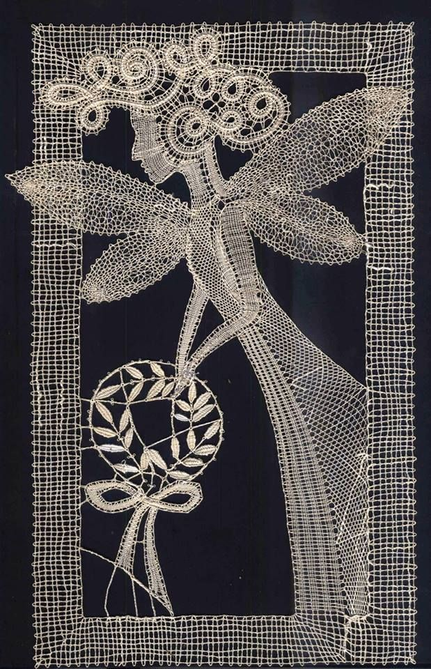 """This lovely piece of bobbin lace is titled """"Muse"""". She has the look of a fairy sprinkling inspiration where ever she goes.  Image courtesy of https://www.fler.cz/zbozi/podvinek-na-palickovani-muza-3230919"""
