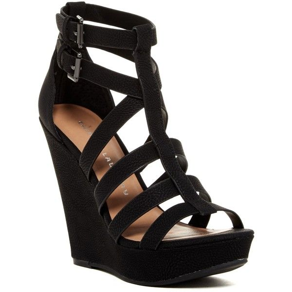 Chinese Laundry Mali Strappy Platform Wedge Sandal ($45) ❤ liked on Polyvore featuring shoes, sandals, black, caged sandals, black platform wedge sandals, wedges shoes, platform wedge sandals and strap sandals