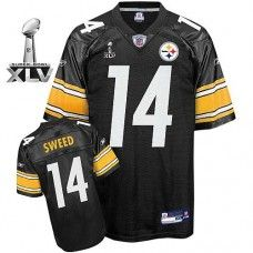 Steelers #14 Limas Sweed Black Super Bowl XLV Stitched NFL Jersey