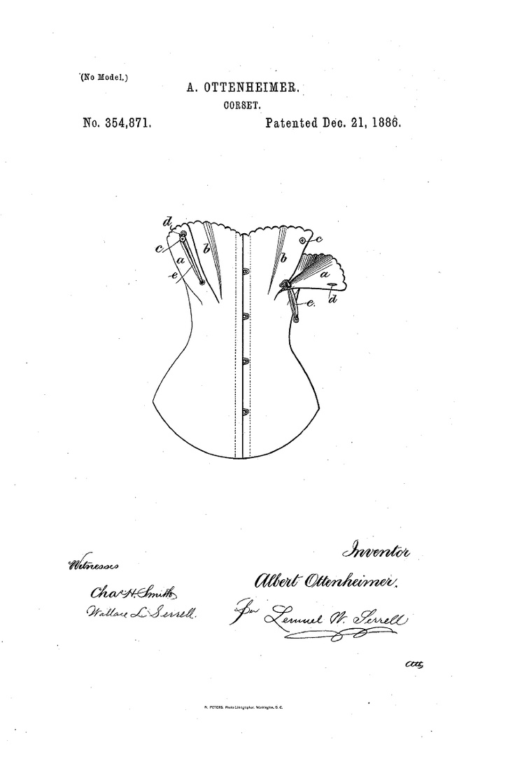 1886 Nursing corset  US patent 354,871  buttons and elastic.