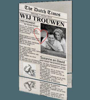 Originele trouwkaart als voorpagina van een krant. #trouwkaarten #trouwkaart. copyright by cartita design.