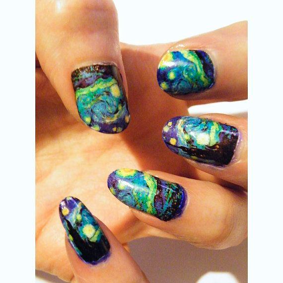 Painting Nail Polish Art Nails Starry Night Van Gogh Set of 10 Acrylic Nails Women Manicure Gothic Pedicure Art History