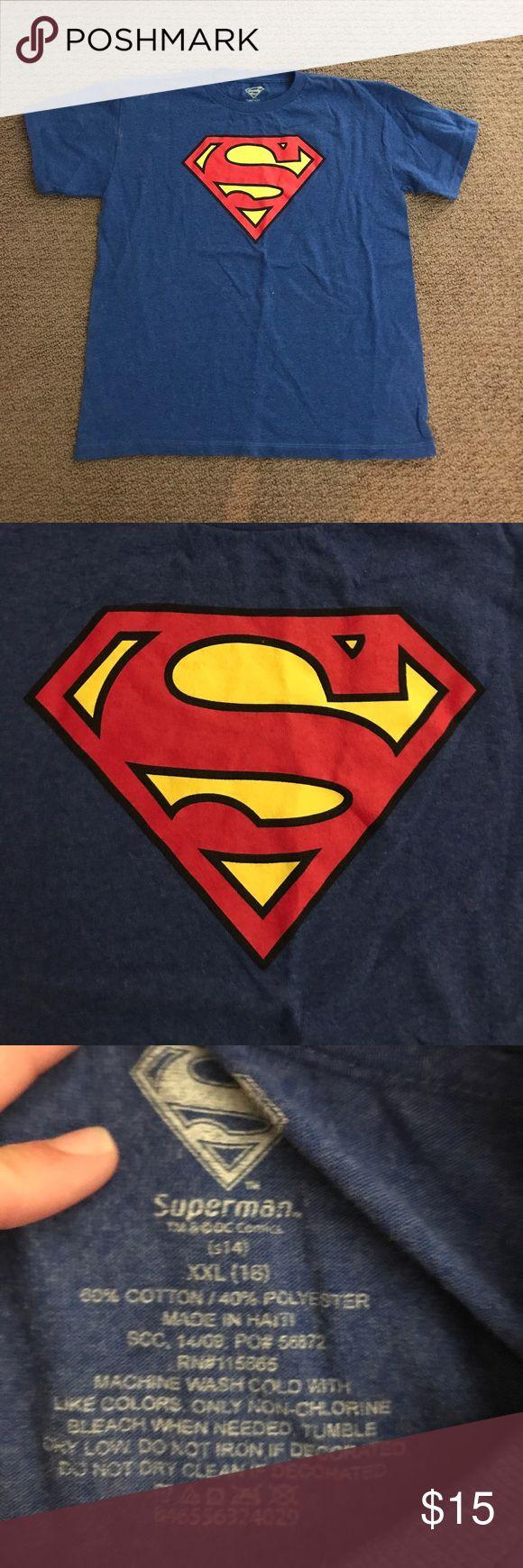 Children's size superman t shirt! Youth XXL blue superman t shirt superman Tops Tees - Short Sleeve
