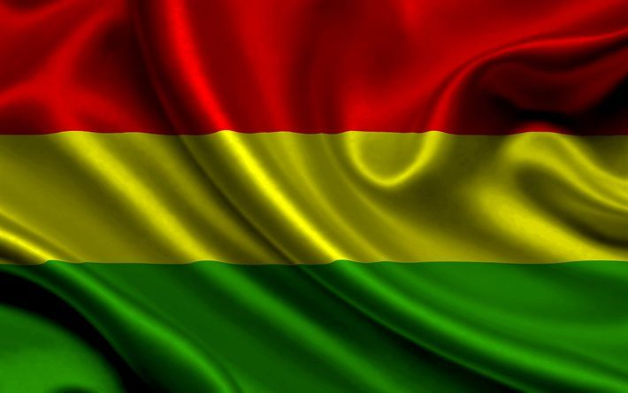 Bolivian flag, 4k, silk, flag of Bolivia, flags, Bolivia flag