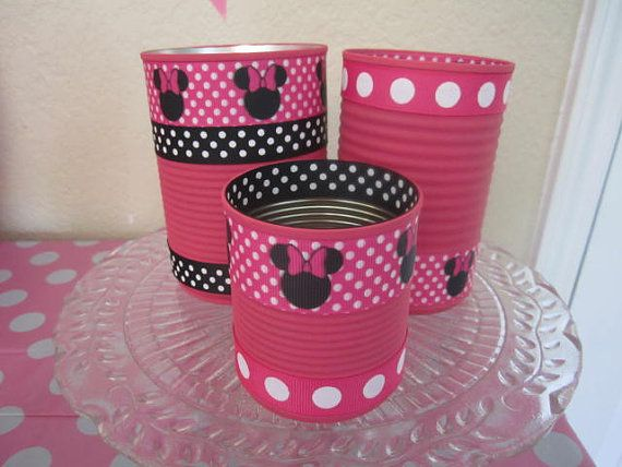 Set of 3 Decorative MINNIE MOUSE Tin CANS by partiesgalore on Etsy, $9.00