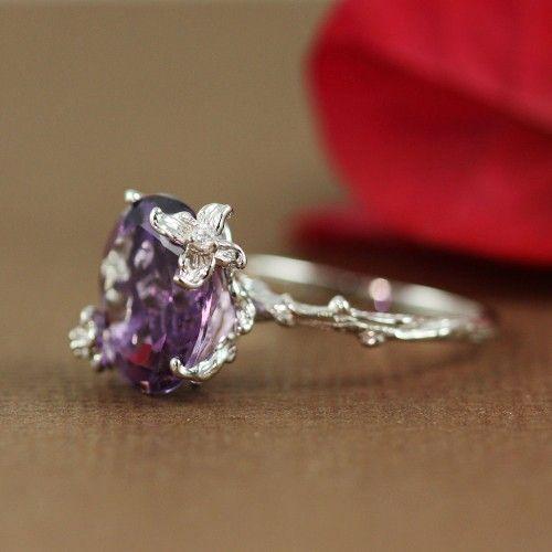 Sterling Silver Oval Amethyst Ring - gemstone ring, handmade ring, sterling silver ring