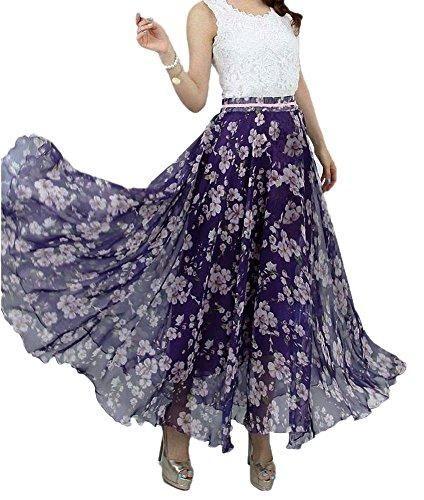 017dccc6e1 Women Full Ankle Length Blending Maxi Chiffon Long Skirt Beach Skirt ...