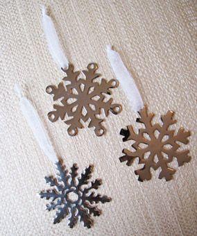 Snowflake Ornament Wedding Favor. Aluminum snowflake ornaments, Bella Regalo, $10 for three, bellaregalo.com.