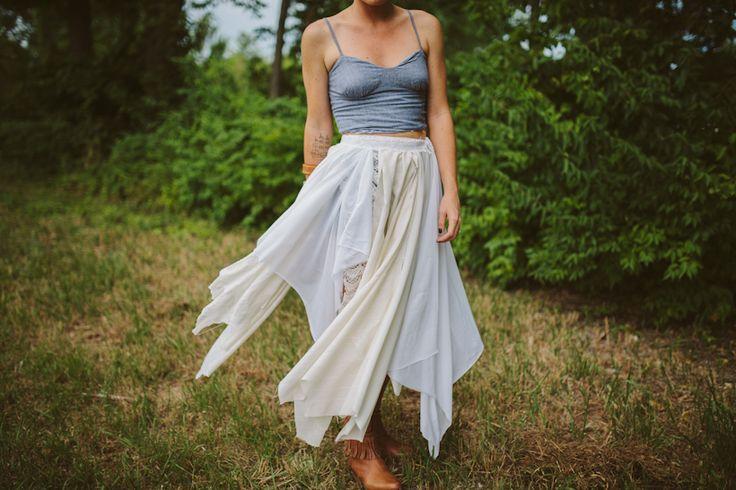 Use scraps of fabric to DIY this boho skirt.