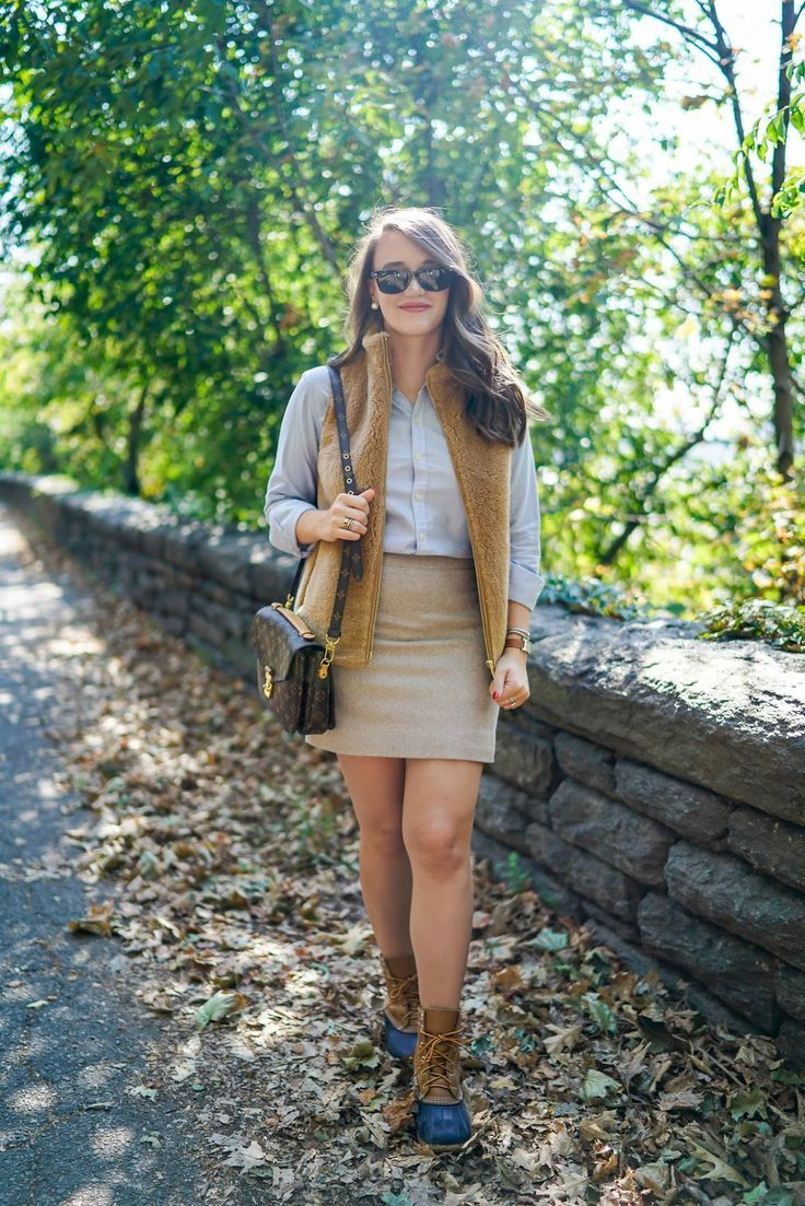 preppy fur vest ralph lauren oxford j.crew tweed skirt louis vuitton pochette metis ll bean boot navy ray ban wayfarer fall preppy look covering the bases fall fashion 2017 fall fashion outfits 2017 pinterest cute fall fashion outfits tumblr fall fashion 2017