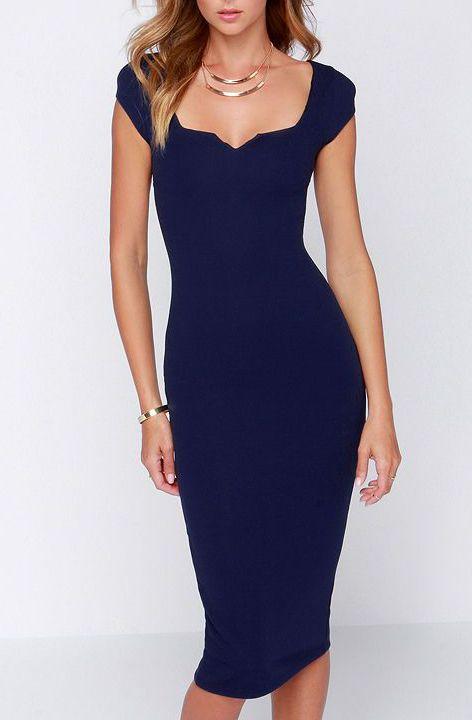 LULUS Exclusive Main Dame Navy Blue Midi Dress at Lulus.com!